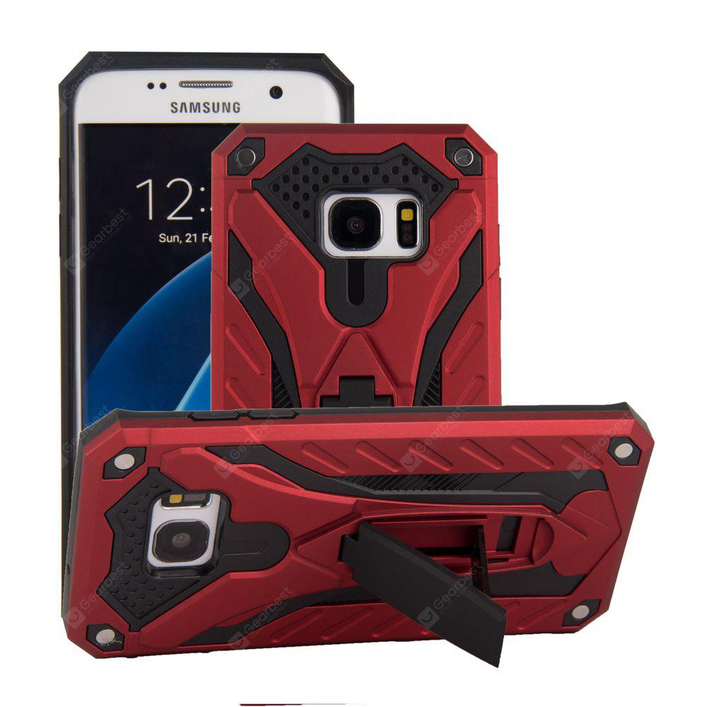 Deluxe Knight PC + TPU Case Support Holder Stand Mobile Phone Cases for Samsung Galaxy S7 Edge