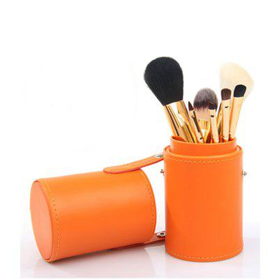 7 Pieces Makeup Brush Set With Barrel