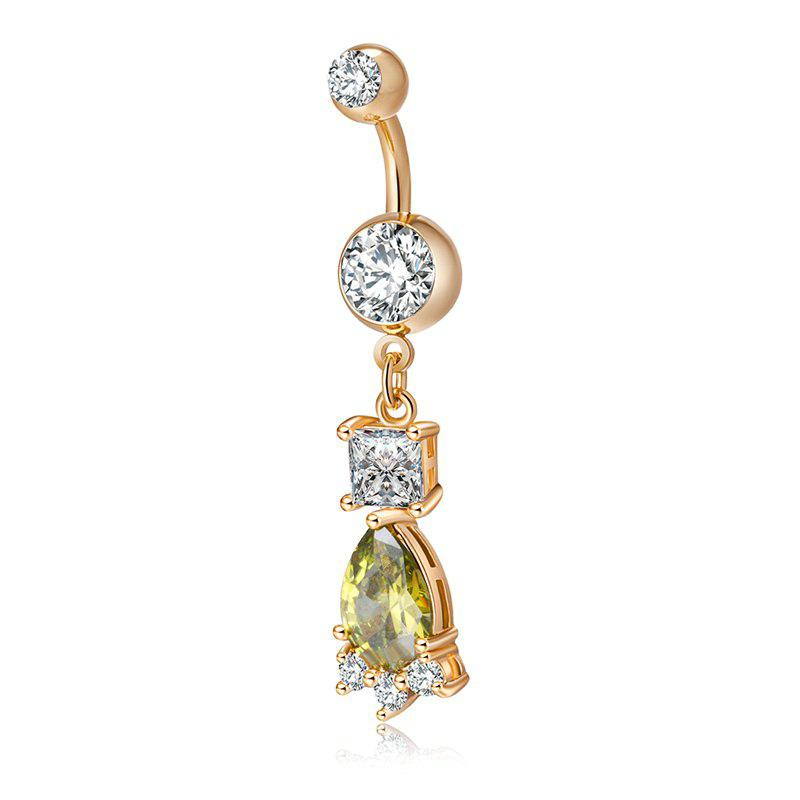 Lovely Bear Print Exquisite Zircon Navel Ring P0200