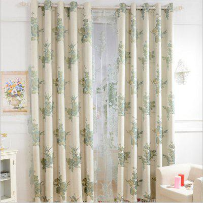 Korean Style High-Grade Linen Super Thick Jacquard Blackout Curtains Grommet 2PCS