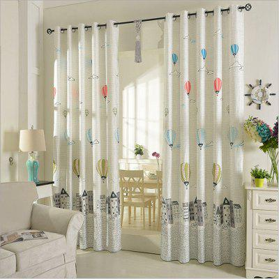 Children Room Cute Cartoon Style Printing Curtains Grommet 2PCS