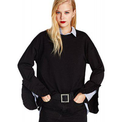 Buy BLACK L Women's Fashion Round Collar Loose Ruffle Cuffs Split Sweatshirt for $23.15 in GearBest store