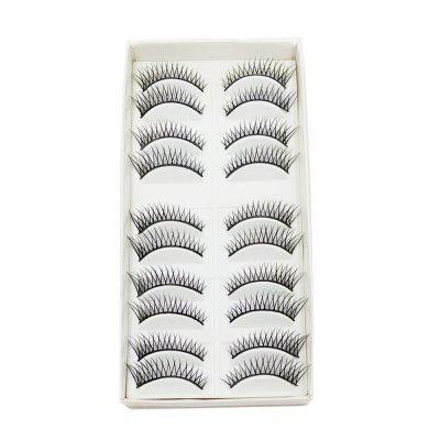 10 Pairs Black Cross Eye end Spin False Eyelash