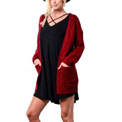 Autumn Winter New Women'S Medium Long Sweater Knit Cardigan Pockets