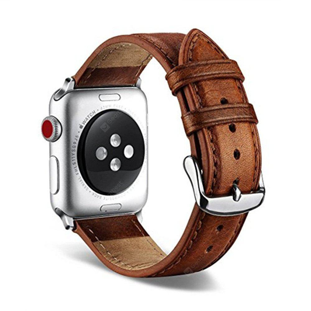 Vintage Series Premium Genuine Leather Strap Classic Replacement with Secure Buckle Adapter for iWatch Series 3 / 2 / 1