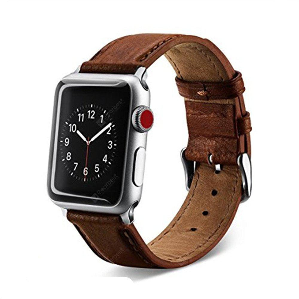 38mm Premium Genuine Leather Strap Classic Replacement with Secure Buckle Adapter for iWatch Series 3 / 2 / 1