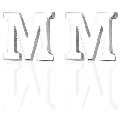 Fashion Silver Plated 26 English Letters Metal Cufflinks M Cuff Links