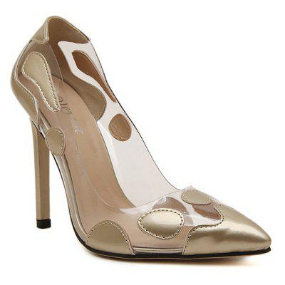 Ladies Rubber Sole Sexy Transparent Mouth High Heel Shoes