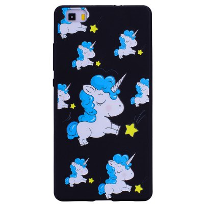 Blue Unicorn For Huawei P8 lite Fashion Cartoon Relief Soft Silicone TPU Phone Case For Huawei P8 lite Cover Cases