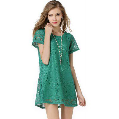 New Dress FashionSummer Dress Women Casual Loose Short-sleeve Sexy Lace Hollow Out Dress