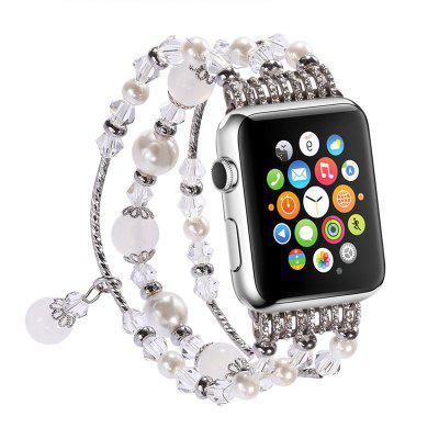 Handmade Elastic Faux Pearl Beaded Watch Band for Apple Watch 42mm Series 3 2 1