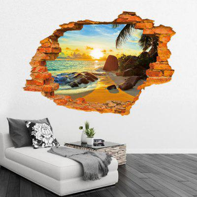 Plage Sunshine Arbre Feuilles Full Wall Sticker Belle Mer Paysage Stickers Muraux Décor À La Maison