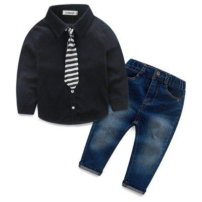 Kimocat Spring Boy Long-sleeve Shirt  Tie Jeans Suit