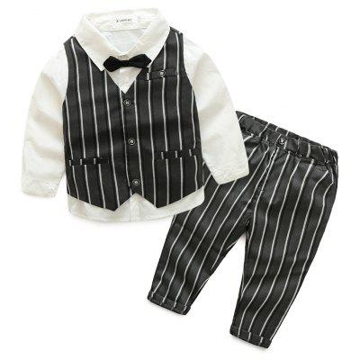Spring Style Boy Long-sleeve Shirt Stripe Vest Bow Tie Suit