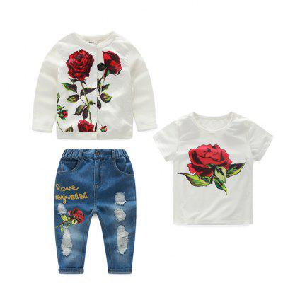 Spring Girl Jacquard  Long-sleeve Coat T-shirt  Jeans Suit