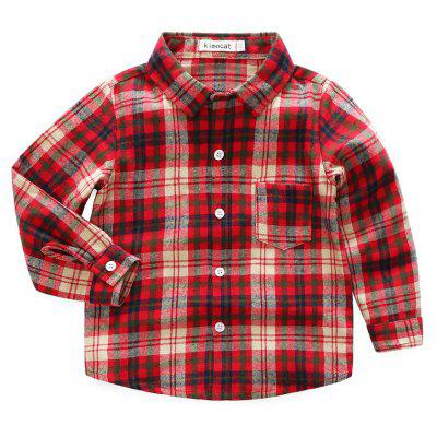 Boy Long-sleeved Cotton Lapel Plaid Shirt