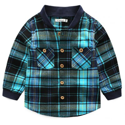 Spring Boy Long-sleeve Casual Cotton Checked Shirt