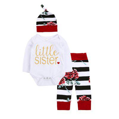 SOSOCOER Baby Girls Clothes Set The Letter Romper and Striped Pants Hat Flower Printed Three Piece Suit