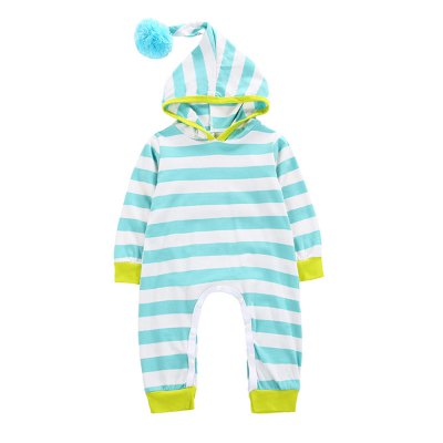 SOSOCOER Newborn Infant Bodysuits Hair Ball Hat and Button Adornment Romper