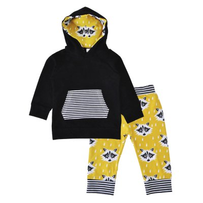 SOSOCOER Baby Boys Clothes Set Fox Printed Hooded Tops and Trousers Two Pieces