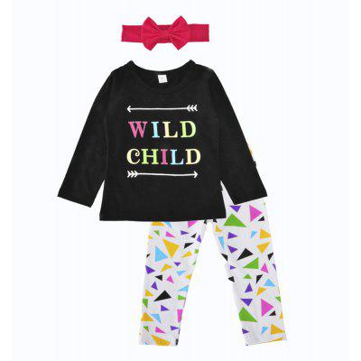 SOSOCOER Kids Girls Clothes Set Letter T - Shirts and Triangular Print Pants Hats Three Pieces Suit