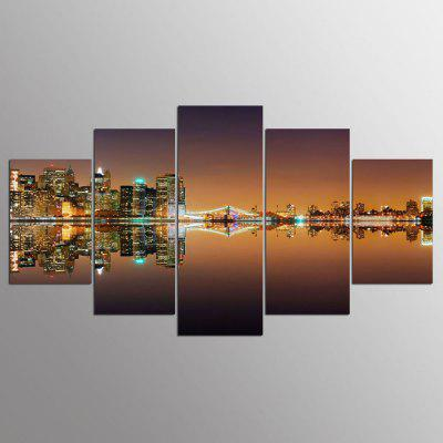 YSDAFEN 5 piezas New York City Night View Painting Home Room Decora Wall Pictures for Living Room