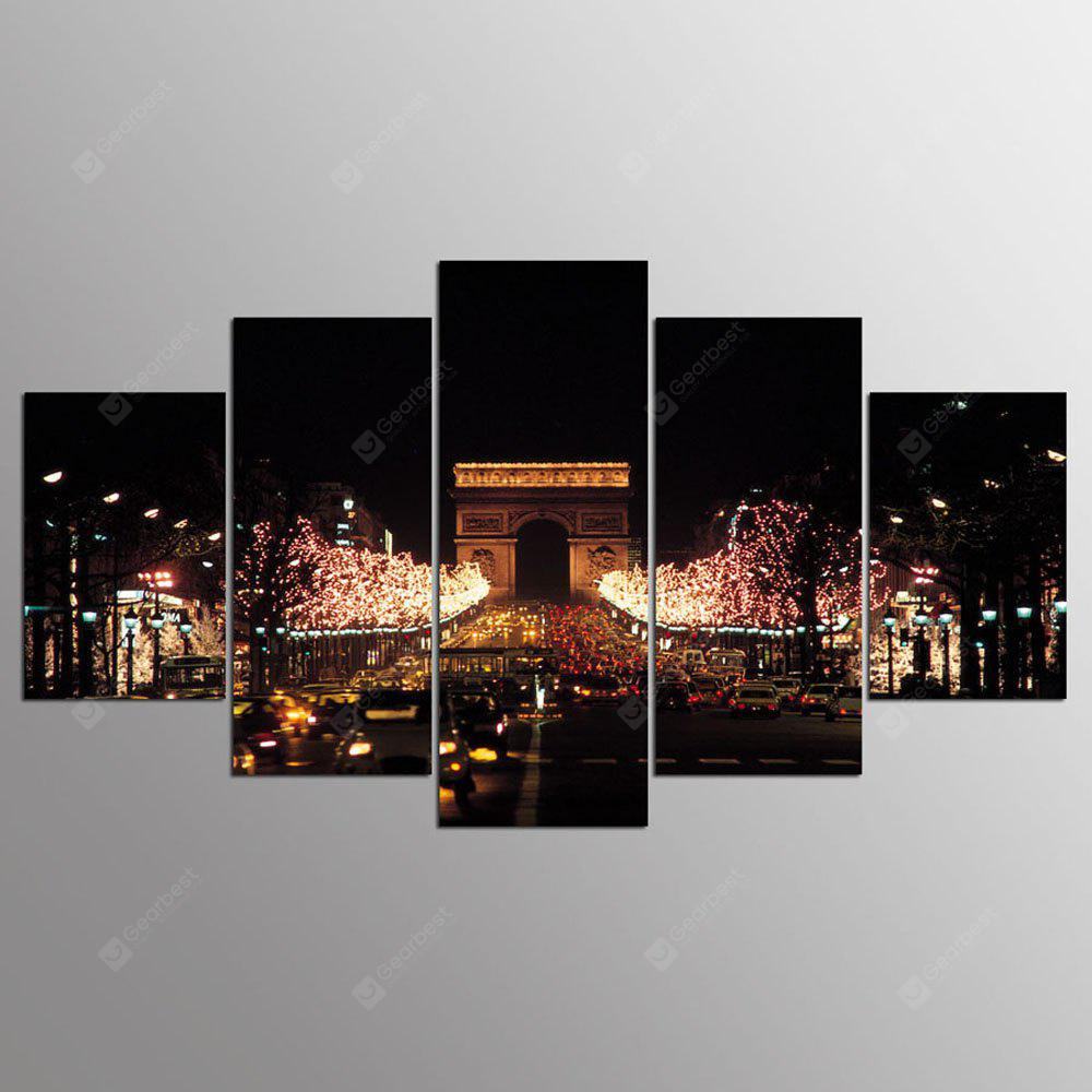 YSDAFEN 5 Pieces Night View Canvas Painting Cuadros Wall Pictures for Living Room