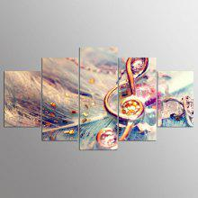 YSDAFEN 5 Panel Modern Hd Music Notes Canvas Art Wall Framed Paintings for Living Room