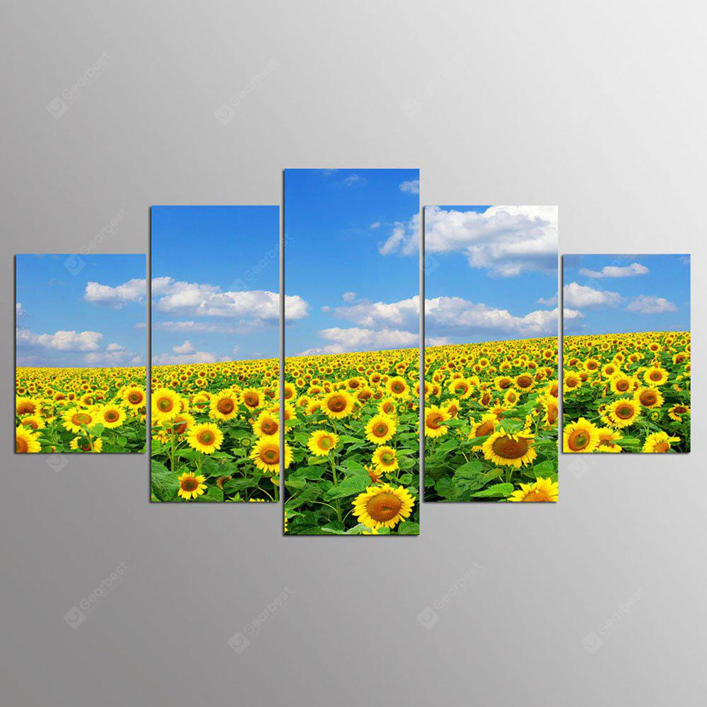 YSDAFEN 5 Panel Modern Hd Sunflower Flower Canvas Art Wall Framed Paintings for Living Room
