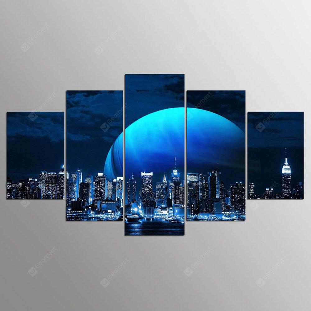 YSDAFEN 5 Panel Hd Vista de Nueva York Canvas Art Pinturas con marco de pared para la sala de estar