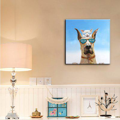 Buy YHHP Hand Painted Canvas Animal Oil Painting Two Good Brother COLORMIX for $30.04 in GearBest store