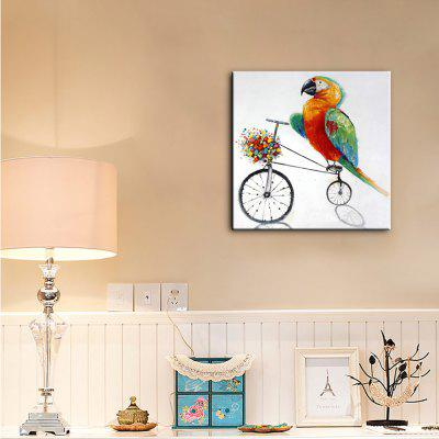 Buy COLORMIX YHHP Hand Painted Animal Canvas Oil Painting Parrot on The Bicycle for $19.88 in GearBest store