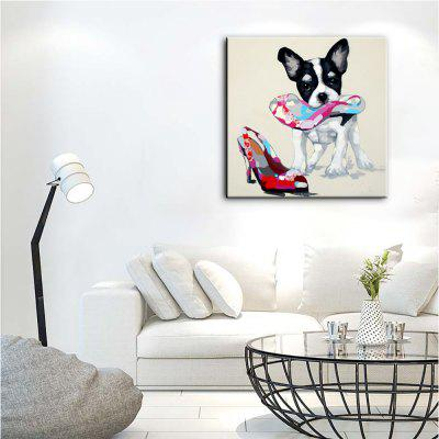 Buy YHHP Hand Painted Animal Canvas Oil Painting Naughty Dog COLORMIX for $30.04 in GearBest store