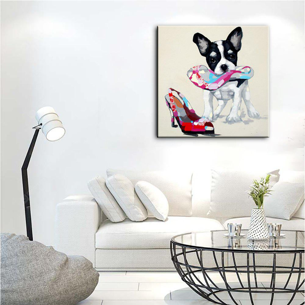 YHHP Hand Painted Animal Canvas Oil Painting Naughty Dog COLORMIX