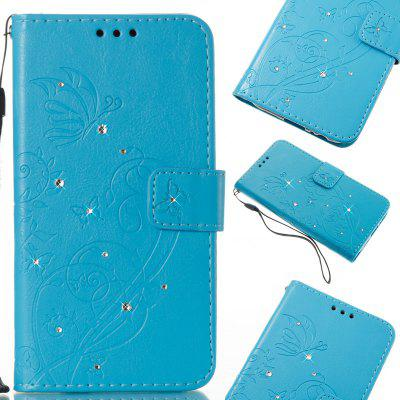 Single Face Butterfly Embossing Leather Case with Water Dirll for Samsung Galaxy S8 Plus