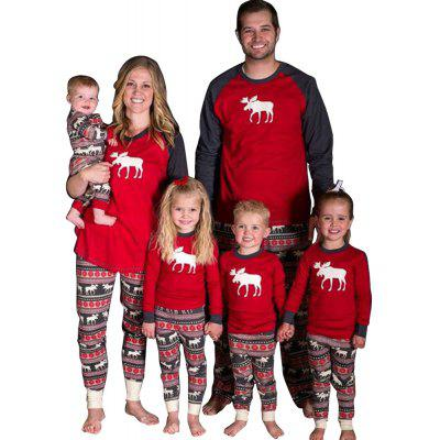 European and American Long Sleeve Deer Print Parent -Child Clothing