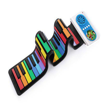 IWORD Rainbow Version 49 Key Portable Hand Roll Piano Built-in Speaker Instrument Toy for Kids