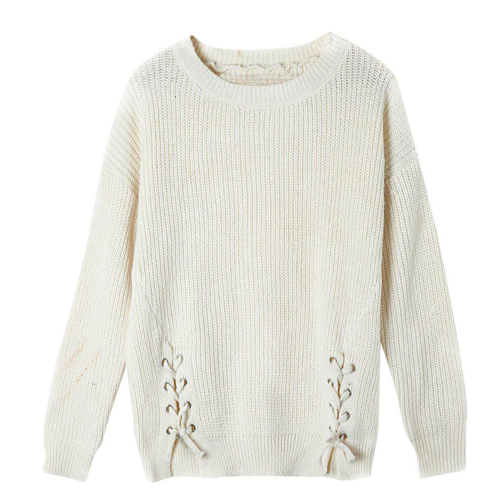 Autumn and Winter New Round Neck Long-Sleeved Loose Hem Corn Silk Knit Sweater Women
