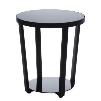 Round Glass Top End Table Living Room Side Table Coffee Table