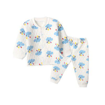 Baby 2Pcs Thermal Underwear Set Cartoon Floral Quilted V Neck Long ... : quilted insulated underwear - Adamdwight.com