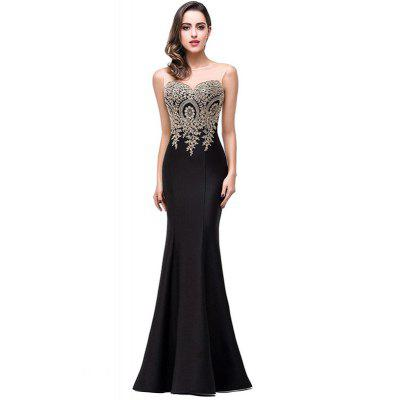 Buy BLACK L Fashion Applique Back Hollowed Out Fish Tail Dress for $27.60 in GearBest store