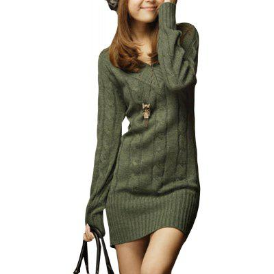 Buy GREEN V Neck Thick Sweater Dress for $24.58 in GearBest store