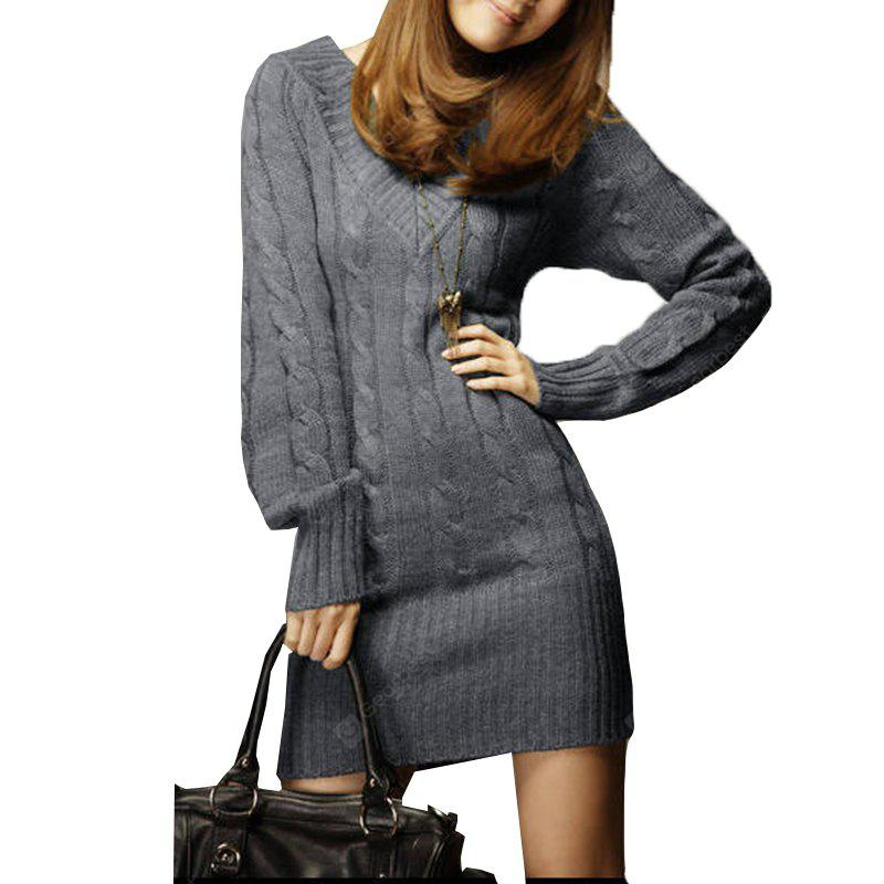 GRAY V Neck Thick Sweater Dress