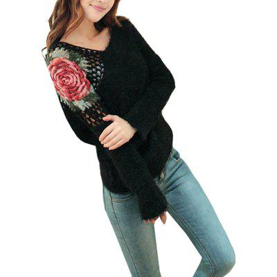 Batwing Sleeve Hollow Out Print Rose  Sweater