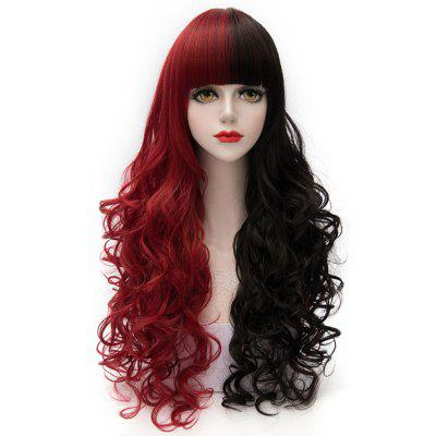 Cosplay COS Wig Neat Bangs Long Curly Hair Black with Red