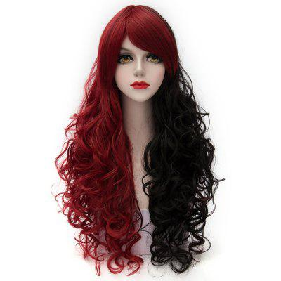 Cosplay COS Wig Side Part Long Curly Hair Black with Red