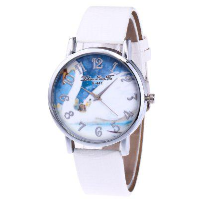 ZhouLianFa New Outdoor Fashion Crocodile Pattern Silver Swan Quartz Watch
