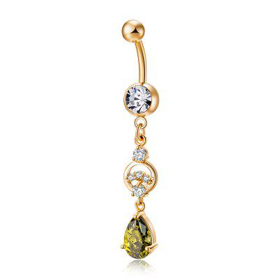 Personalidad Drop Shaped Zircon Navel Ring P0217