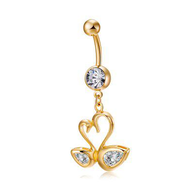 Love Swan CZ Navel Ring P0242