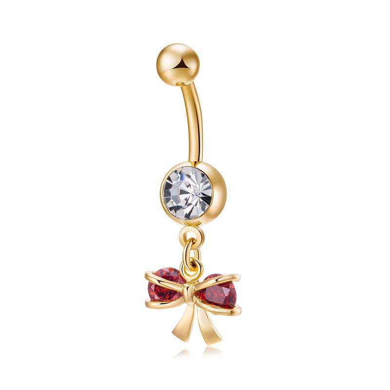 Love Bow CZ Navel Ring P0247